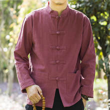 男士苎pi中式衬衫大yp上衣原创中国风开衫男唐装亚麻厚式春装