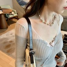 米卡 pi丝针织衫女yp调罩衫超透气镂空防晒衫V领气质显瘦开衫