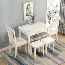 餐桌家pi(小)户型 简yp玻璃实木折叠餐桌长方形 欧式餐桌椅组合