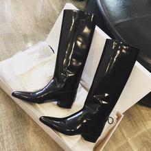 (小)白同pi靴2020yp美帅气百搭高筒靴女平底粗跟不过膝长筒皮靴
