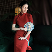 老上海pi麻旗袍春季yp0新式民国风素色改良旗袍复古红少女连衣裙
