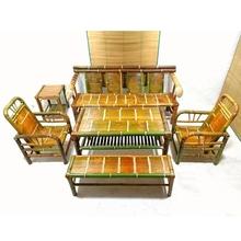 中式竹pi桌沙发椅组so茶室家具竹编餐桌子特色复古禅意竹茶几