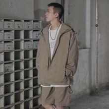 【特价pi可拆五分袖zx防晒衣男外套潮牌ins连帽夹克宽松衣服