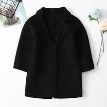 宝宝羊pi大衣双面呢tp洋气童装秋冬中长式西装洋气羊毛呢外套