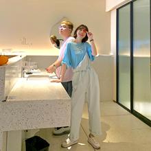 法儿家pi款2021tp女士夏薄式宽松高腰垂感阔腿背带紧身牛仔裤