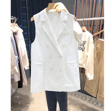 棉麻马pi0女20夏ot款双排扣坎肩时尚百搭白色背心马夹夏式薄