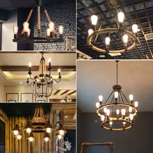 工业风pi灯美式复古ey性麻绳loft怀旧服装店网吧餐厅酒吧灯饰