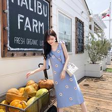 杨(小)卷pi020夏新ey薄式(小)雏菊刺绣吊带修身针织连衣裙短袖上衣