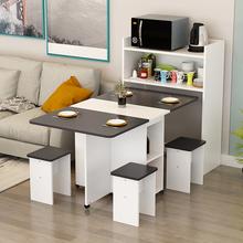 折叠餐pi长方形家用ey(小)户型可移动伸缩吃饭桌子餐边柜组合