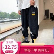 七分牛仔裤男休闲pi5搭工装宽elns束脚短裤子韩款潮流八分裤