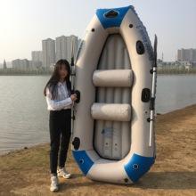 加厚4pi充气船橡皮lu气垫船3的三的钓鱼船四五的冲锋艇