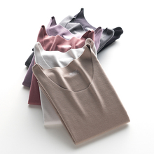 德绒无pi保暖内衣女lu加绒低领打底衫自发热单件上衣秋衣冬季