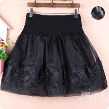 春秋蕾pj短裙女装欧sp半身裙子蓬蓬大码显瘦高腰黑色打底半裙