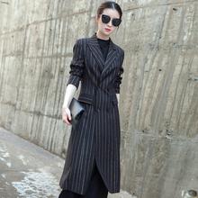 西装外pk女2019ly韩款修身显瘦气质女装上衣条纹长式西服大衣