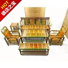 中式竹pk桌沙发椅组sy用茶室家具竹编餐桌子特色复古禅意竹茶