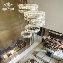 复式楼pl吊灯别墅挑ce客厅灯楼梯长后现代简约大气时尚水晶灯