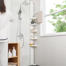 顶天立pl浴室置物架nt免打孔厕所马桶转角架落地卫生间收纳架