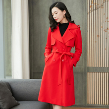 红色风pl女中长式秋nt20年新式韩款双排扣外套过膝大衣名媛女装