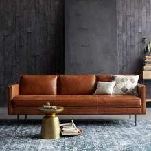 意式极pl沙发(小)户型yb式复古油蜡皮艺北欧工业风意式客厅沙发