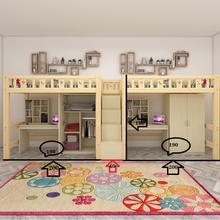 实木高pl床上床下桌yb空间多功能上层上下铺单层床书桌