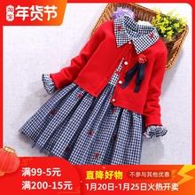 女童毛pl裙秋装洋气yf公主裙套装秋冬新式宝宝新年加绒连衣裙