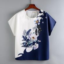 2020年新款中年妈pl7夏装雪纺yft恤女短袖宽松半袖t��衫上衣