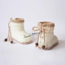 婴儿毛pl鞋针织婴儿yf毛线编织宝宝鞋高筒婴儿马丁靴系带防掉