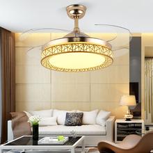 锦丽 pl厅隐形风扇ld简约家用卧室带LED电风扇吊灯