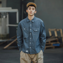 BDCpl牛仔衬衫男wg袖宽松秋季休闲复古港风日系潮流衬衣外套潮