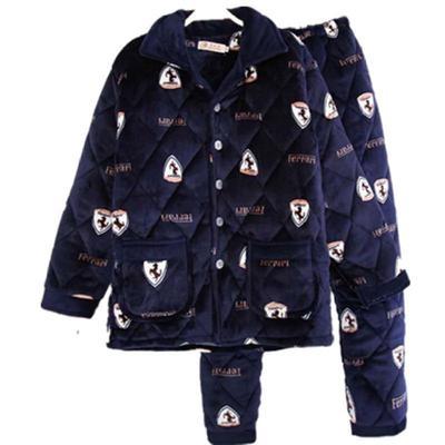 男式码pm年的男士保cj天夹层加厚式加棉袄男睡衣棉春季绒