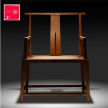 老榆木pm椅新中式实cg官帽椅餐椅茶椅禅椅子主的椅打坐椅