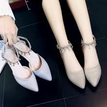 女鞋2pm20年新式zx季秋季中跟粗跟百搭尖头大码春秋式伴娘秋鞋