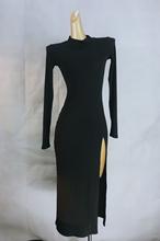 sospn自制Partp美性感侧开衩修身连衣裙女长袖显瘦针织长式2020