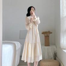 春式女pn新式连衣裙ht式复古气质显瘦仙女温柔(小)香风