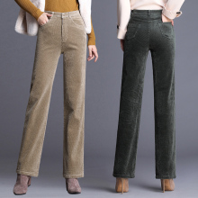 秋冬高pn纯棉灯芯绒ht筒长裤粗条绒宽松大码妈妈裤