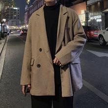 ins 秋港风痞帅格子宽po9(小)西装男es复古风外套休闲冬季西服