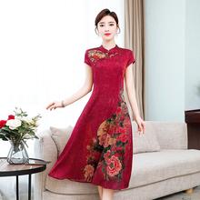 中国风印花改良旗po5式连衣裙es式妈妈复古高贵气质真丝礼服