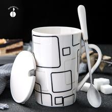 创意陶po杯子简约水ce大容量马克杯带盖勺个性潮流茶杯