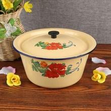 出口搪po盆带盖平盖sh碗怀旧老式猪油盆拌馅盆老式家用调味缸