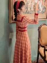 法式复po(小)清新女春sh海军风少女收腰显瘦气质长裙