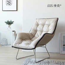后现代po奢真皮沙发sh钢头层牛皮休闲单椅高靠背懒的躺椅脚踏
