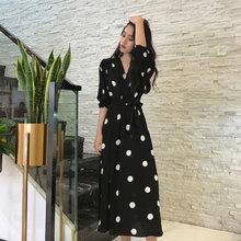 加肥加po码女装微胖lo装很仙的长裙2021新式胖女的波点连衣裙