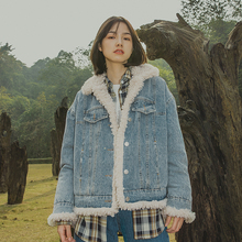 靴下物原创女装羊羔po6牛仔衣女dg加厚2020冬季新式棉衣外套