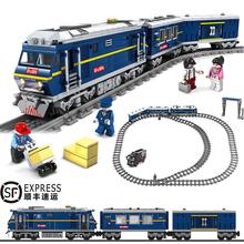 大型电动轨道火车po5车和谐号dg火车站儿童拼装�犯呋�木玩具