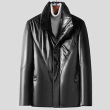 士绵羊皮po1衣冬季2e6款商务休闲白鸭绒立领外套