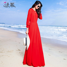 绿慕2po21女新式ta脚踝雪纺连衣裙超长式大摆修身红色沙滩裙