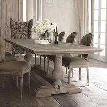 美式组po长方形家用ta意法式复古做旧吃饭长桌子