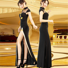 旗袍式po衣裙改良款fu式气质显瘦夜场礼服黑色优雅工作服定制