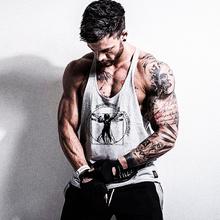 男健身po心肌肉训练vu带纯色宽松弹力跨栏棉健美力量型细带式