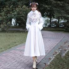 冬季民po风女装复古vu领绣花夹棉加厚毛呢大衣大摆外套洋装
